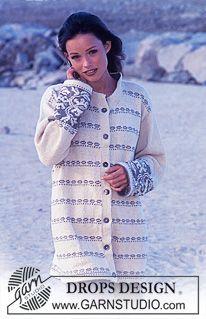 DROPS Cardigan in Silk-Tweed with Mandarin collar. ~ DROPS Design 61-10