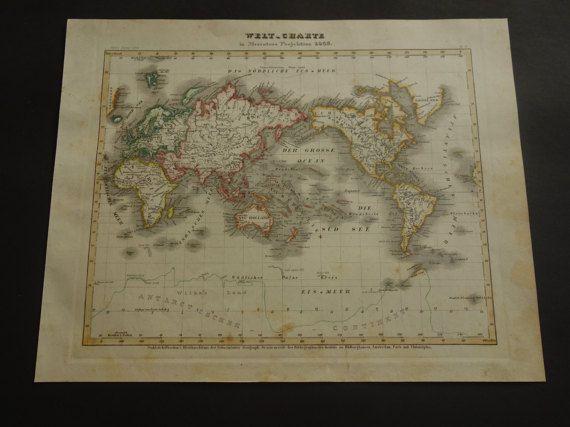 old world map 1849 original antique worldmap by VintageOldMaps