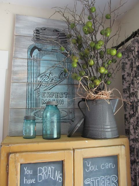I love blue Ball Mason Jars!...painted pallet drawing..I can do that!