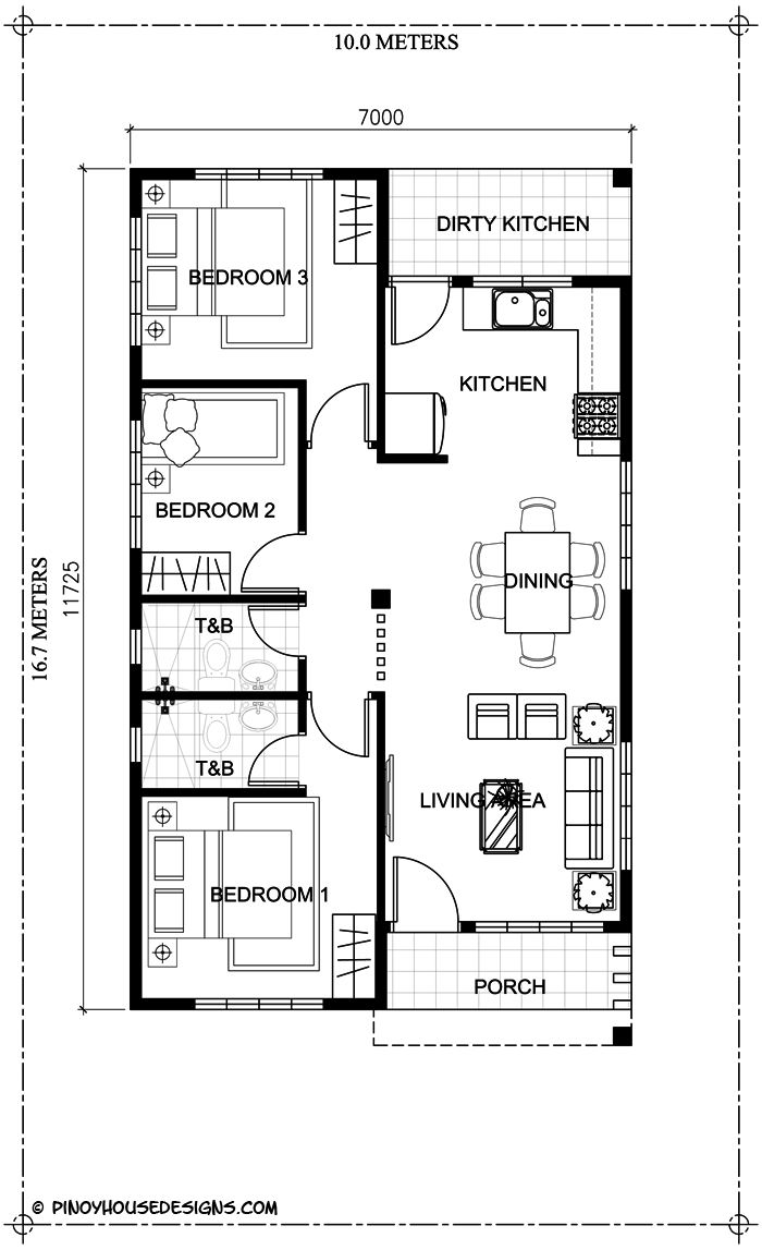 Ruben model is a simple 3 bedroom bungalow house design with total floor area of