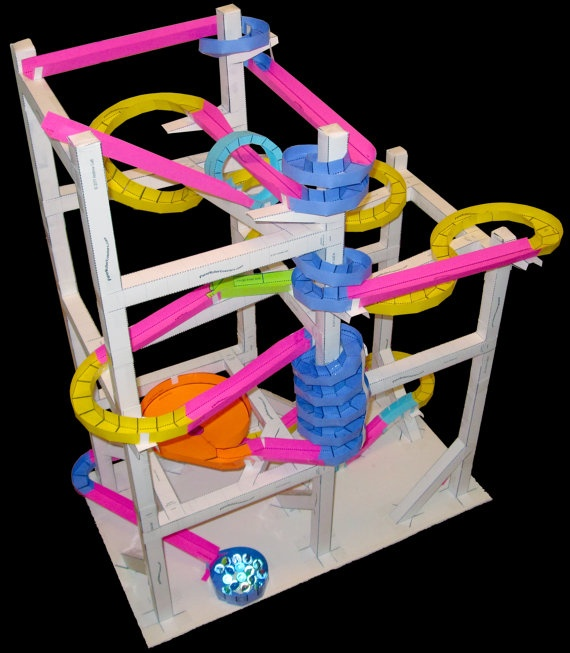 Paper roller coasters!  Such a fun, creative, and inexpensive craft for kids.  http://www.etsy.com/shop/PaperRollerCoasters