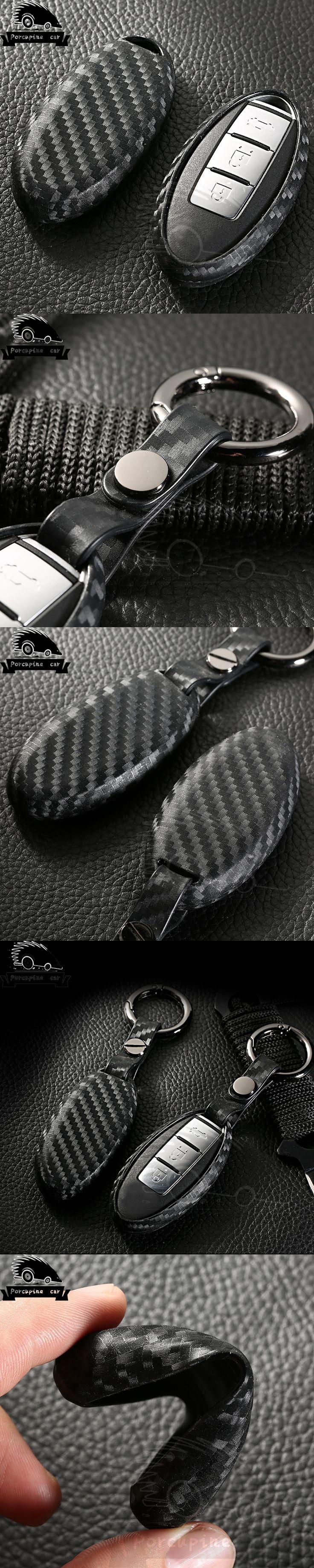 Carbon fiber Silica gel Case Cover Car Key Wallet Cool Car key Keychain For Nissan Almera March Qashqai  juke x-trail tiida