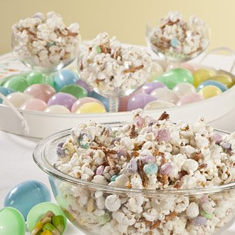 Bunny Bait Popcorn  Ingredients        1 bag of Popped Popcorn      White Chocolate Almond Bark      Easter M&M's®      Pretzel Sticks (broke in half)      Colorful Sprinkles