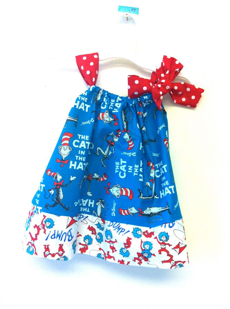Dr Seuss Cat in the Hat with Thing 1 and 2 jumper pillowcase dress. $29.95, via Etsy.: