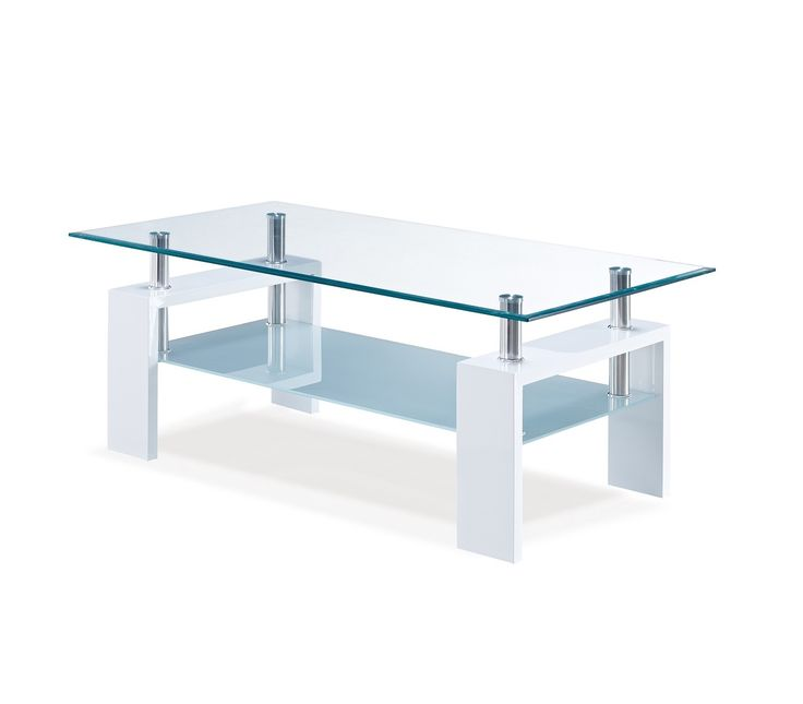 Coffee Table This Contemporary Cocktail Table Boast A Sleek Design With  Glossy White Legs And A Tempered Glass Top With A Beveled Edge And A  Frosted Glass ...