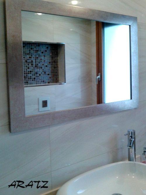 Espejo plateado para ba o espejos decorativos a medida for Espejos decorativos bano