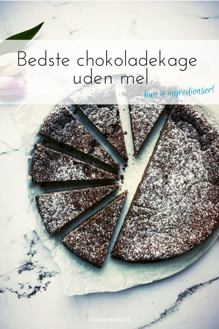 Bedste chokoladekage uden mel - lækreste konfektagtige chokoladekage uden mel - nem opskrift her - 4 ingredienser