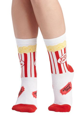 These would be so cute to put in a movie themed gift basket for someone that loves crazy socks and movies. Get a Movie On Socks, #ModCloth