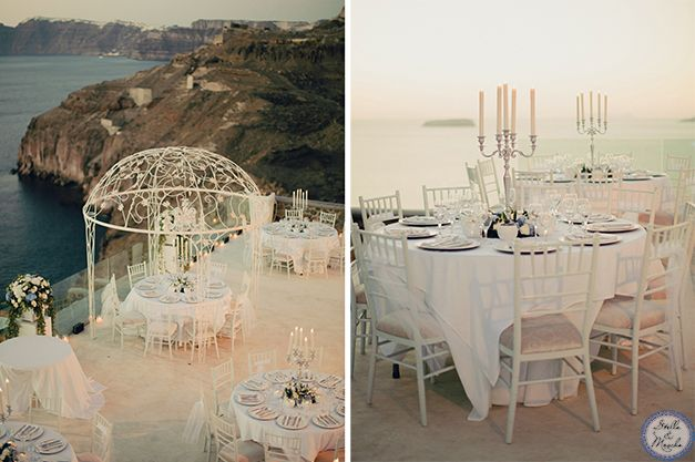Wedding Reception | Santorini Wedding by Stella and Moscha - Exclusive Greek Island Weddings | Photo by Anna Roussos | http://www.stellaandmoscha.com/wedding-photos/private-villa-wedding/