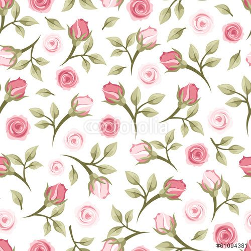 "Download the royalty-free vector ""Seamless pattern with roses. Vector illustration."" designed by naddya at the lowest price on Fotolia.com. Browse our cheap image bank online to find the perfect stock vector for your marketing projects!"