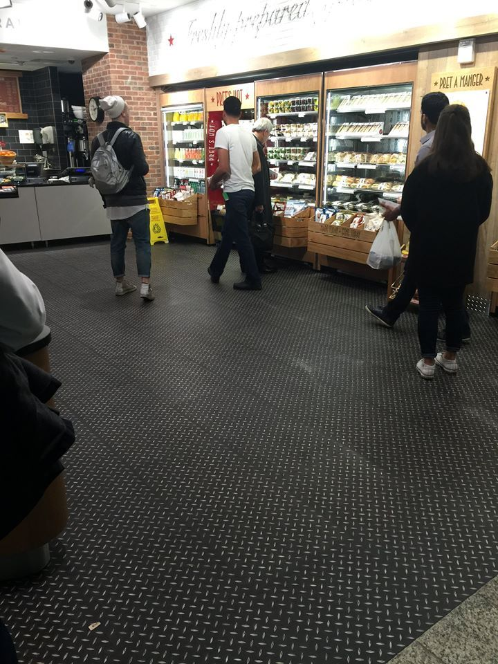 Polyflor Expona that has been installed at a Pret in Penn Station, NYC