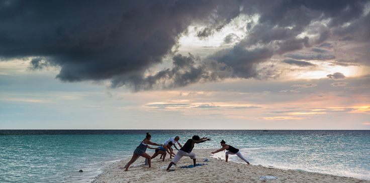 Sunset Yoga on White Island sandbar, Camiguin, Philippines. Join us next time!