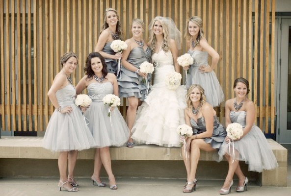 Light grey bridesmaid dresses in different styles