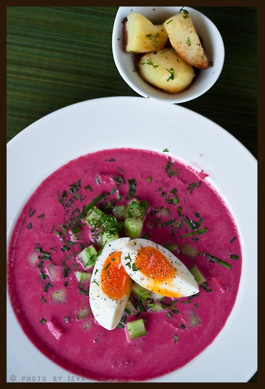 Lithuanian cold beet soup (šaltibarščiai). Everyone has to try it at least once. Everyone!