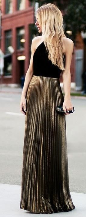 amazing outfit idea | black top   bag   bronzed skirt