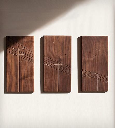 Power Poles Wood Art | Power poles triptych, CNC routed in solid walnut. Dimensions: ... | Artwork