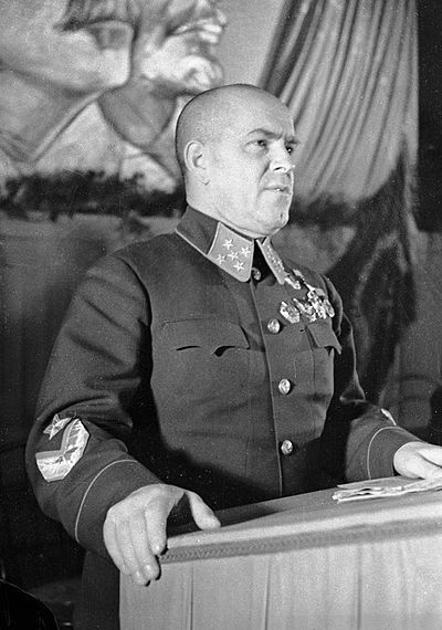 Marshal of the Soviet Union Georgy Konstantinovich Zhukov (Russian: Гео́ргий Константи́нович Жу́ков; IPA: [ˈʐukəf]; 1 December [O.S. 19 November] 1896 – 18 June 1974), was a Soviet career officer in the Red Army who, in the course of World War II, played a pivotal role in leading the Red Army drive through much of Eastern Europe to liberate the Soviet Union from the occupation of the Axis Powers and to conquer other nations, and ultimately, to conquer the capital of Germany itself, Berlin.
