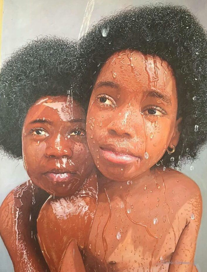 "Oil painting by Nigerian painter Oresegun Olumide. He said that ""water is a recurring theme in his art because according to a popular adage in his native Yoruba language,""water has no enemy."""