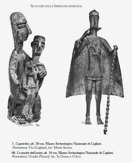 """Madre con figlio e Capotribù. Da G. Lilliu """"Sculture della Sardegna nuragica"""""""