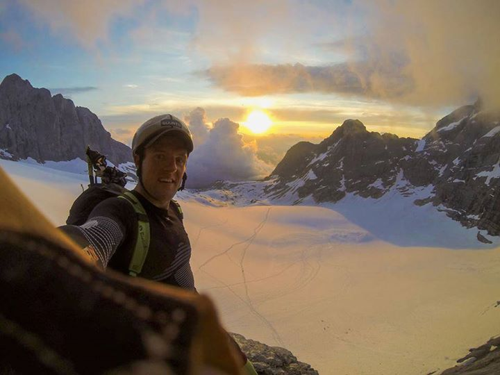 """""""Christian Maurer taking a moment to snap a selfie as the sun sets.""""   Via GoPro Check out the sweet Suunto stickeron his helmet."""