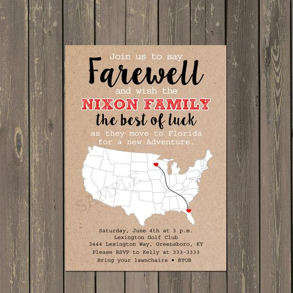 Going Away Party Invitation, Farewell Party Invite, Moving Announcement, Bon Voyage Invitation, Goodbye Party Invite, Kraft Paper Look