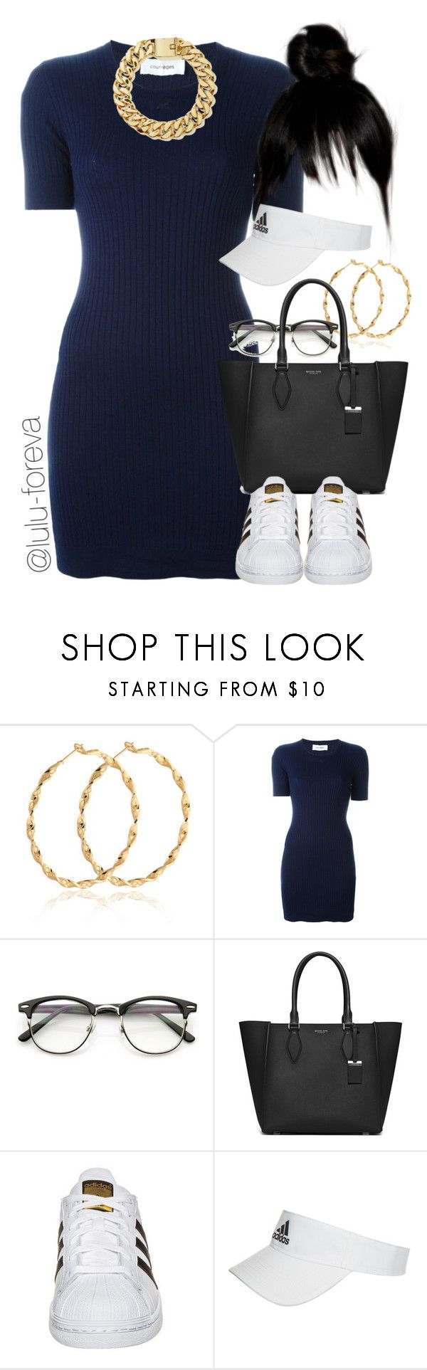 """Untitled #1612"" by lulu-foreva ❤ liked on Polyvore featuring Courrèges, Michael Kors, adidas Originals and adidas"