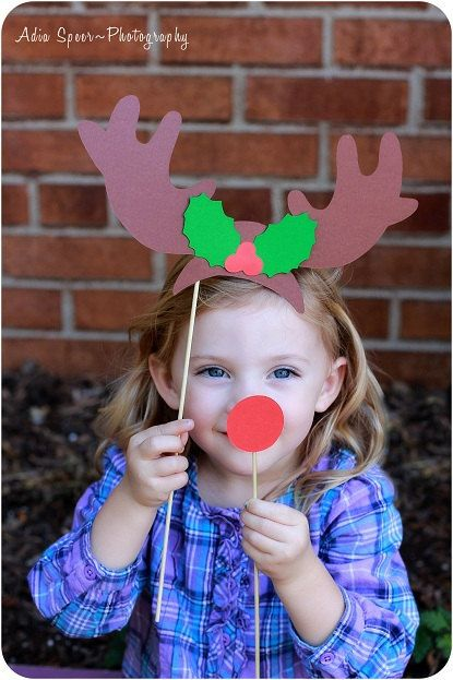 {E's class party} Christmas Photo Booth Props - Rudolph Holiday PhotoBooth Props Rudolph The Red Nosed Reindeer Christmas Party Photo Prop Christmas Card Prop. $9.50, via Etsy.
