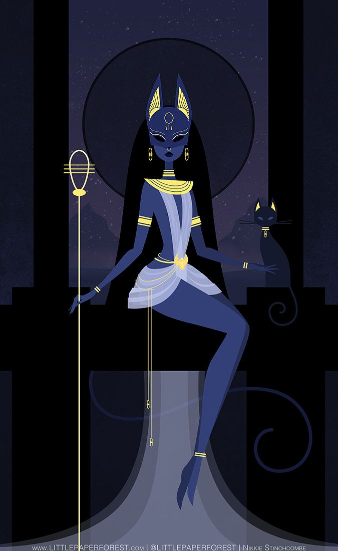Bastet by Nikkie Stinchcombe / Little Paper Forest. Bast or Bastet, the famous 'cat goddess' of ancient Egypt. Depicted as a lion headed or cat headed woman often carrying an ankh or papyrus wand. She is associated with the all seeing eye (the utchat) and a rattle (the sistrum). Bastet was considered the goddess of pleasure, her sistrum linking her to music and dance. | Blasphemous Rumours