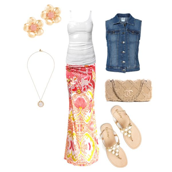 """""""Summer Teacher Outfit"""" by courtney-west on Polyvore~ Can create this look with lots of bright skirts!"""