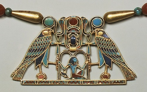 Pectoral of Princess Sit-Hathor-yunet (detail), Middle Kingdom, Dynasty 12, ca. 1887–1813 B.C.Egyptian. This pectoral is a superb example of the technical skill and artistry of Middle Kingdom jewelers. It was made using the cloisonné technique in which 372 carefully cut pieces of semiprecious stone were set into metal cells. The pectoral's owner was Princess Sit- Hathor- yunet, who seems to have lived from the reign of Senwosret II into that of Amenemhat III of Dynasty 12.