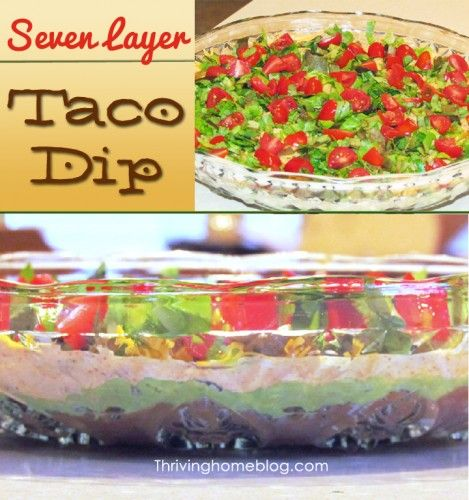This healthier version of seven layer taco dip recipe is easy to make and sure to please a crowd. Eat up!