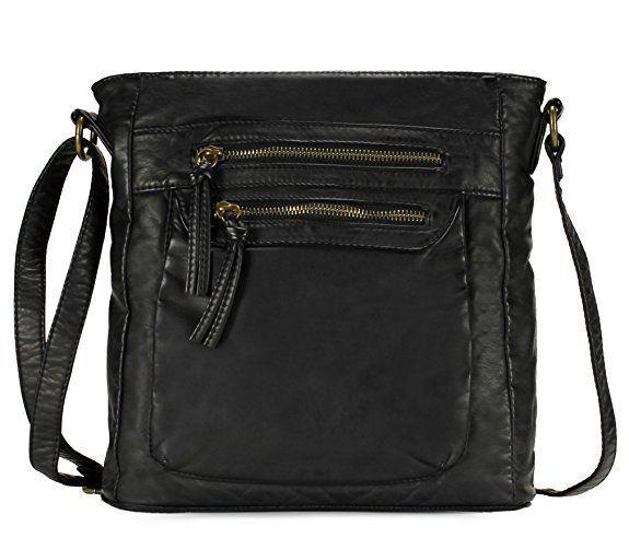 "Black Leather Crossbody Bag 11X11X3.5 Shoulder Drops 22"" Scarleton Free Shipping #Scarleton #MessengerCrossBody"