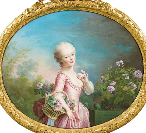 Young girl picking roses by François Hubert Drouais, 1770. This portrait was purchased by Madame du Barry for the Water Pavilion at Louveciennes. [source: Sotheby's]
