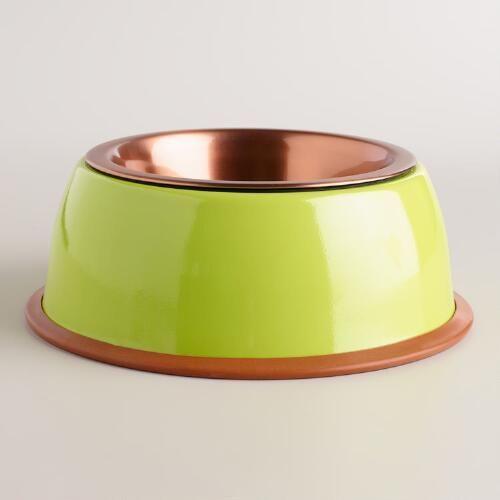 Apple Green Copper Pet Bowl