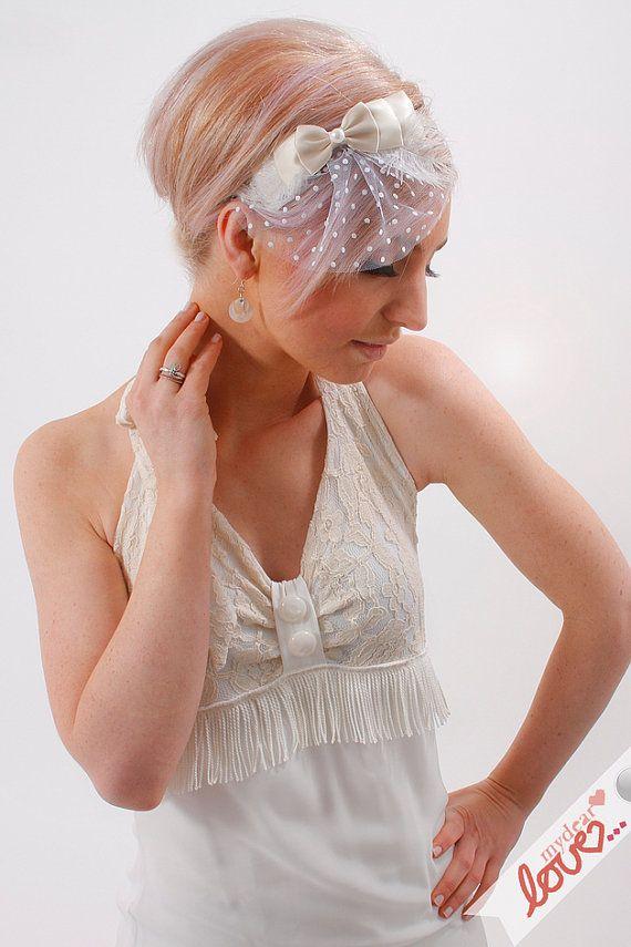 Headpiece Fascinator Headband 'Lace Feather & Bow' by mydearlove