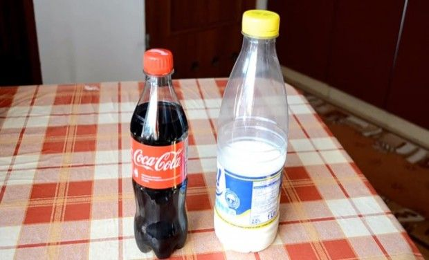The experiment requires just two ingredients: Coke and some milk.
