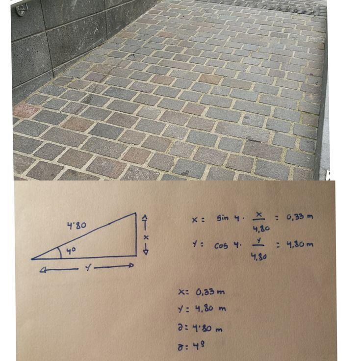 RAMPA 4 Localizada en Realejo Bajo(Plaza de San Agustín) La altura de esta rampa es de 0,33m y su longitud es de 4,80 m, y su grado de inclinación es de 4º. Su pendiente es de un 7%, por lo que esta rampa si cumple con la normativa a pesar de que se exceda un poco del 6% establecido por la ley.