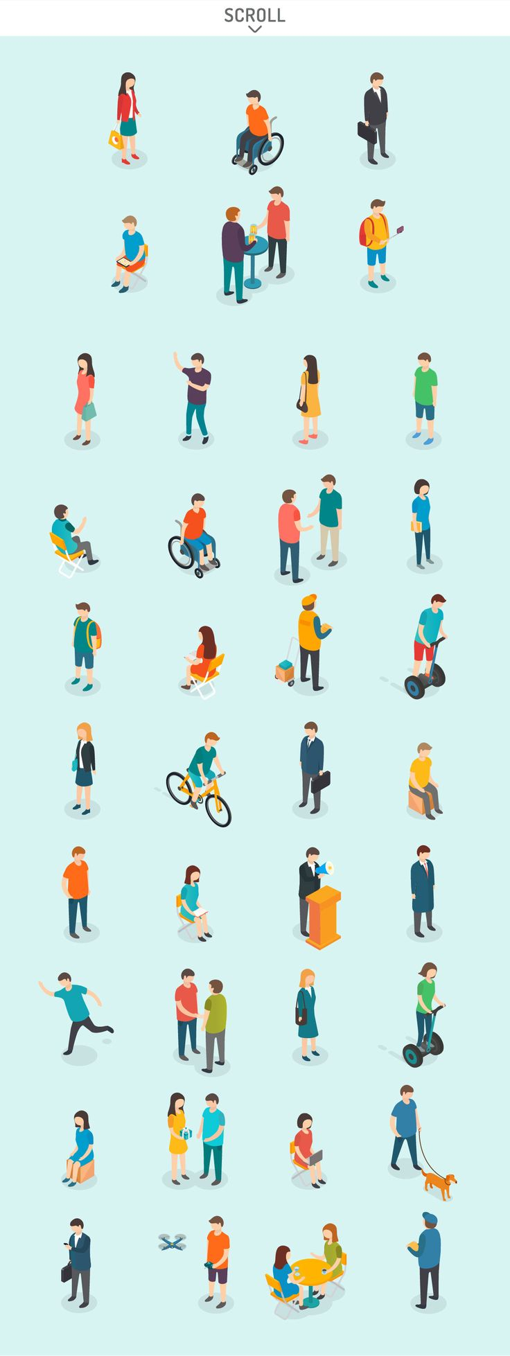 Isometric People Set by Antikwar on @creativemarket