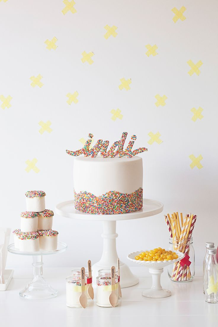 sprinkle cake topper... just had a brain explosion of possibilities! All kinds of things covered in sprinkles!!