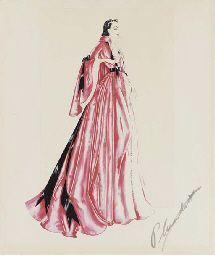 VIVIEN LEIGH COSTUME DESIGN SKETCH SIGNED BY WALTER PLUNKETT FROM GONE WITH THE WIND