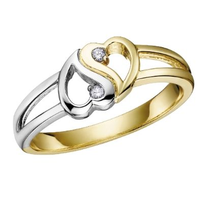 9ct 2 Colour Diamond 2x Open Heart Ring CH325 from The Jewel Hut Collection at £180.00