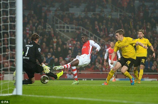 French striker Yaya Sanogo has been named in Arsenal's Champions League squad