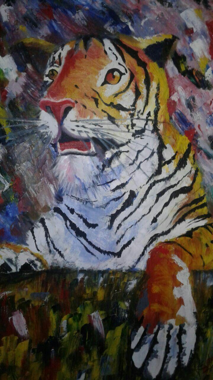 Tigre óleo sobre lienzo tiger, oil canvas