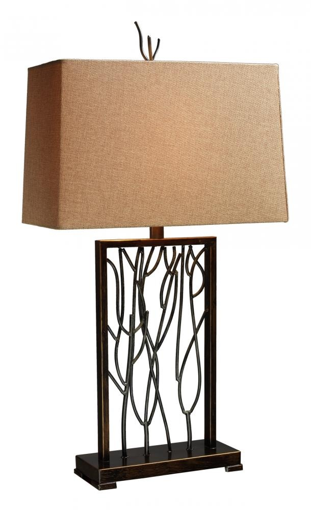 Design Lighting in Surrey, British Columbia, Canada, Dimond D1518, One Light Bronze Table Lamp, , Aria Bronze and Iron - Shade - Textured Beige Linen and Golden Liner