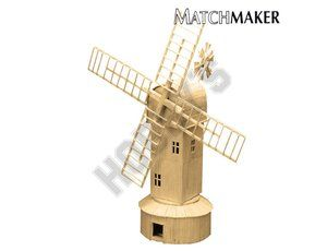 This Matchmaker Windmill includes everything needed to make this matchstick model kit.  Included are all the pre-cut card formers along with the glue, matchticks and full instructions. These instructions will guide you through each stage of the construction until you finally achieve the finished product.  We would highly recommend this Matchmaker Windmill.    Approx size of finished model: 305mm high excluding sails, Sail Span 355mm