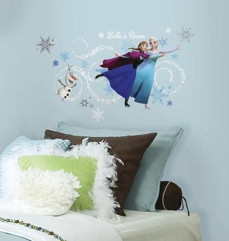 Frozen Custom Headboard Featuring Elsa, Anna & Olaf Peel and Stick Giant Wall Decals Decalcomania da muro