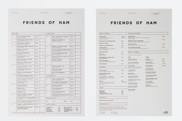 Friends of Ham menu designed by Passport.