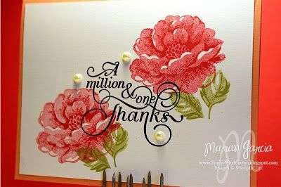 Studio M by Marian: Stippled Blossoms Thank You CARD, The Paper Players #158