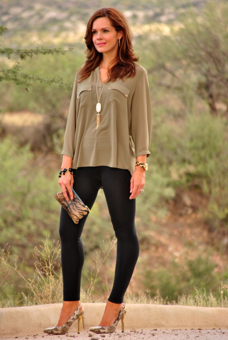 Leggings olive green blouse and heels. Fall outfit. | Fashion - Fall u0026 Winter | Pinterest ...