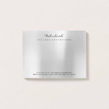 Silver Gray Metallic Name Web Telephone Number Post-it Notes - luxury gifts unique special diy cyo